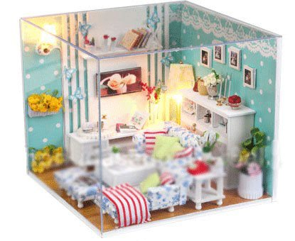 Big Dollhouse Miniature Diy Wood Frame Kit With Light Model Sweet Promise Gift Ldollhouse45-D57