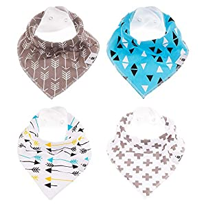 Momma's Babi - Baby Bandana Drool Bibs - Unisex 4-Pack - SuperAbsorbent Organic Cotton Keeps Baby Happy & Dry - Baby Will Look Adorable In These Stylish Designs - Makes A Great Baby Gift