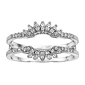 0.22CT Cubic Zirconia Contoured Wedding Ring Jacket set in Sterling Silver (0.22CT TWT Cubic Zirconia)