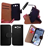 Whaletraders Samsung Galaxy S3 9300 Wallet Case Cover With Free Screen Cover and Stylus (Premium Black Wallet Stand)