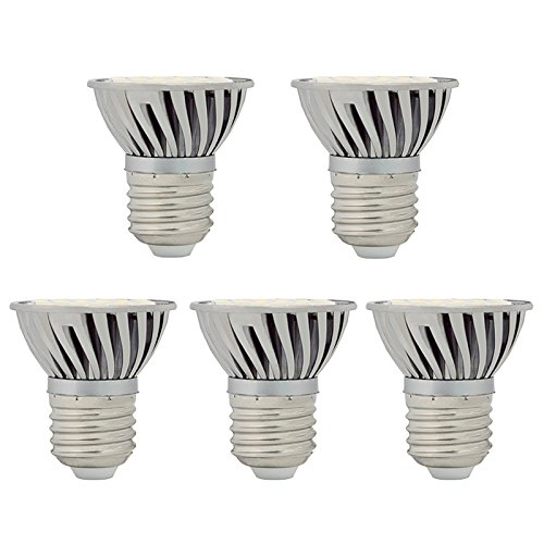 Hero-Led Par16 E26 / E27 4.8W Led Bulb, 5-Pack, 50W Halogen Replacement, Short Neck, Daylight White