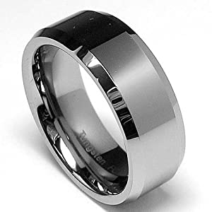 High Polish Beveled Edge Tungsten Carbide Ring sizes 5 to 15