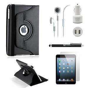 GEARONIC TM iPad Mini and iPad Mini with Retina Display 5-in-1 Accessories Bundle Rotating Case Business Travel Combo - Black