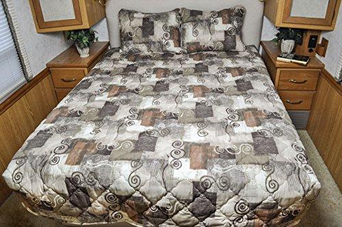Short Queen RV Bedspread 3 Pc Set Camper RV Travel