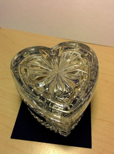 Waterford Crystal Heart Shaped Trinket Box With Lid & Waterford Crystal Heart Shaped Ring Holder, Presented In A Lovely Gift Box As Shown front-438241