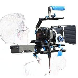 DSLR Rig Épaule PAD Support mont + Poignée + Follow Focus + Matte Box + C Forme support Cage + Top Handle 15mm Rod Rig Kit rail Vidéo Film Combinaison Pour DV HDV HD Camcorder DSLR Canon 550D 500D 600D 1100D 60D 50D 40D 5D 5DII 5DIII Nikon D300 D5100 D3100 D3000 D5000 D90 D7000 D700 J1 V1 Sony A57 A55 A35 NEX7 NEX5N NEXC3 Fuji, Olympus,Pentax K01 K5 Q KR KX K7 KM K20D K200D K10D K100D X90 X70 Panasonic GF1 GF5 GF2 GF3 GX1 G3 GH2GK Samsung NX100 NX200 NX11 Video Camera Canon GL1 GL2 XL1 XL1S XL2 XF100 Panasonic HVX200 HVX200A DVX100A DVX100B HPX170 HDC-MDH1 AG-DVC60 HM-C150 Sony DCR-VX2000 HDR-FX1 FX1000 PMW-EX3 PMW-EX1 A1U DCR-VX2100 Z1U PDX10