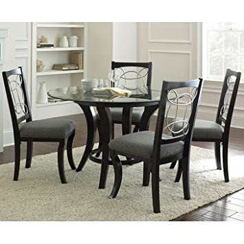 Steve Silver Cayman 5 Piece Round Dining Room Set w/ Faux Marble in Black