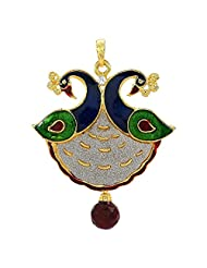 Gold Plated Peacock Designs Pendant Set Without Chain