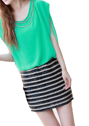 Women'S Summer Dress Short Sleeved Chiffon Dress Size M Bright Yellow 926
