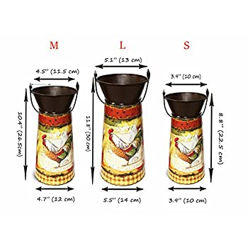 Janazala Metal Flower Pots Designed as Rustic Pitchers with Decorative Vintage Printing of Rooster on Each Flower Pot, Set of 3
