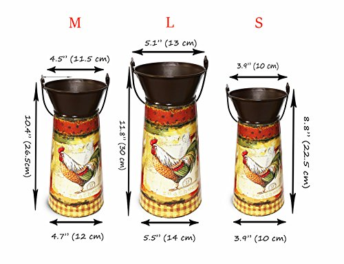 Janazala Metal Flower Pots Designed as Rustic Pitchers with Decorative Vintage Printing of Rooster on Each Flower Pot, Set of 3 1