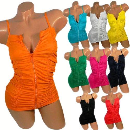 Sexy Damen T-Shirt mit Spaghettiträger Tank Top Reissverschluss GoGo Hemd f29