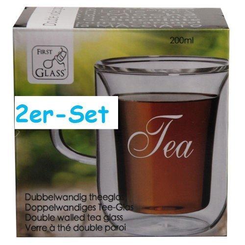 2er-Set Thermogläser Doppelwandig Teeglas mit Schriftzug TEA Tee Glas Gläser
