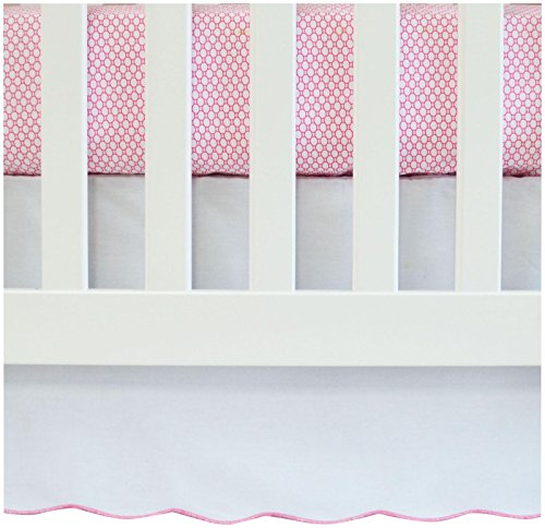 Oliver B Scallop Crib Skirt- White w/Fuchsia Trim
