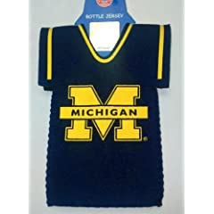 Michigan Wolverines BOTTLE JERSEY KOOZIE drink cooler Great Gift GO BLUE by Michigan Wolverines
