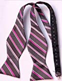 Bowtie Gray Pink Stripe Classic Silk Women Man's Bow Tie