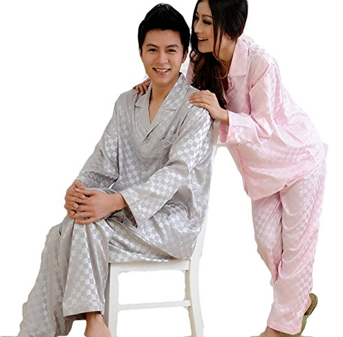 (Meilleur rêve)アイマスク付き 男女 肌 触り なめらか シルク パジャマ 快適な 眠り エレガント 長袖 上下 セット 選べるサイズ(1メンズ L)