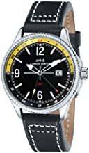 AVi-8 Hawker Hunter Men's Quartz Watch with Black Dial Analogue Display and Black Leather Strap AV-4007-02