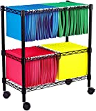 Alera FW601426BL Two-Tier Rolling File Cart, 26w x14d x 30h, Black