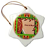 3d Rose Cinco De Mayo Sombrero On A Blanket With Peppers Snowflake Ornament, Porcelain, 3 Inch (Orn 16333 1)