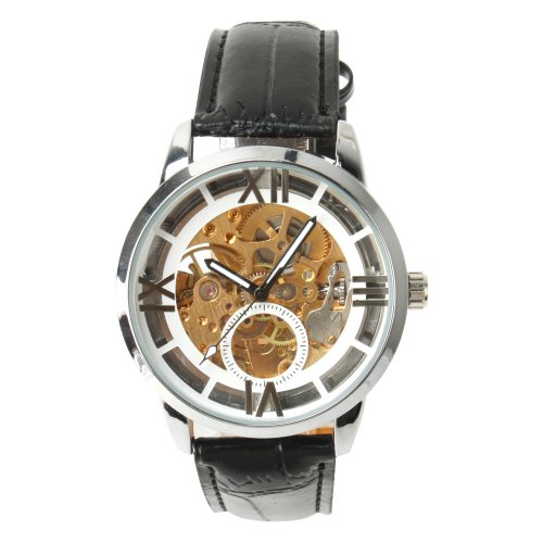 Yesurprise New Luxury Fashion Men Hollow Skeleton Leather Band Mechanical Unisex Wrist Watch Trendy 2013 Father's Day Gift #3