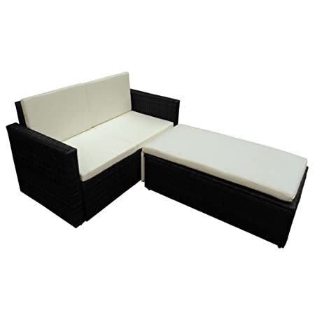 Set Gartenmöbel Rattan Sofa + Chaise Long ausziehbar Farbe schwarz