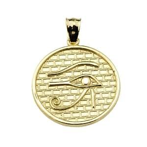 Fine 10k Yellow Gold Eye of Horus Round Charm Pendant Amazon.com