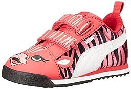 PUMA Roma SL Zebra V Kids Sneaker (Infant/Toddler/Little Kid) , Geranium/White, 1.5 M US Little Kid