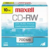 Maxell® - CD-RW Discs, 700MB/80min, 4x, Silver, 10/Pack - Sold As 1 Pack - Rewritable.