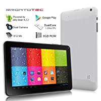 9 Inch Capacitive Touch Screen Tablet Pc, Allwinner A20 Cortex A8 Dual Core 1.2 Ghz, Android 4.2, 8gb Nand Flash, Ddr3 512mb Ram, Dual Camera, Wi-fi, G-sensor (White) by ProntoTec
