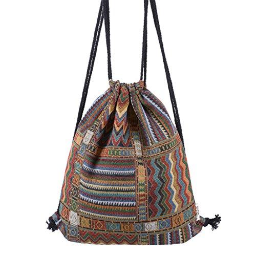HITOP ragazza donna vintage dello zaino tela geometria lemento sacchetto scuola università sacchetto coulisse viaggio coulisse