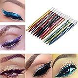 Makeup Pencil Eyeliner,Hemlock 12 Colors Long Lasting Eye Shadow Pen Lip Liner Pen (A)