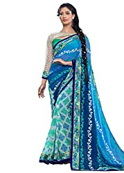 Varni Exquisite Blue and Green Color Faux Georgette with Lace Work