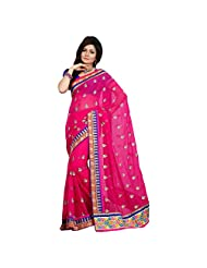 Alluring Magenta Colored Embroidered Faux Georgette Saree By Triveni
