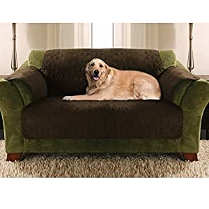 Buy yes pets love seat size quilted micro suede furniture for Furniture covers for pets amazon