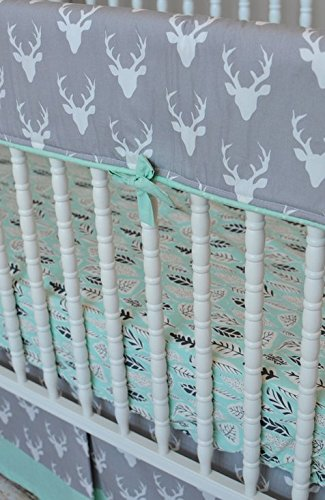 Lavender Linens Buck Forest Crib Bedding in Gray and MInt (Rail Cover, skirt, sheet)