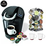 Keurig B-40 Elite Gourmet Single-Cup Home-Brewing System Bundle – Includes a Nifty Mini Black Carousel for K-Cups and 2 White Coffee Mugs Best Deals
