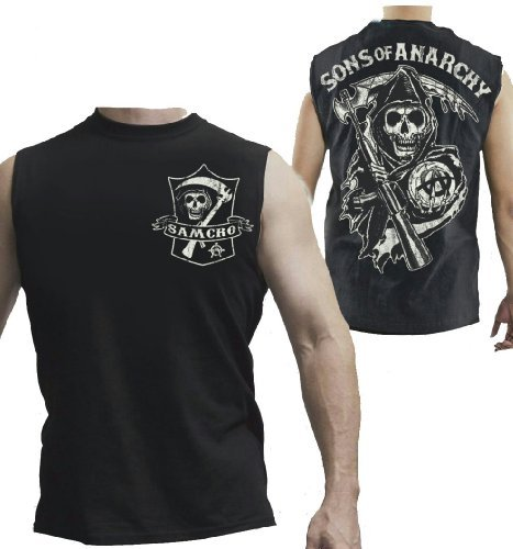 Sons of Anarchy SAMCRO Shield Muscle Black Men's Sleeveless T-shirt (Adult X-Large)