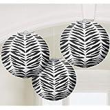 Zebra Stripes Animal Print Paper Lanterns (3ct)