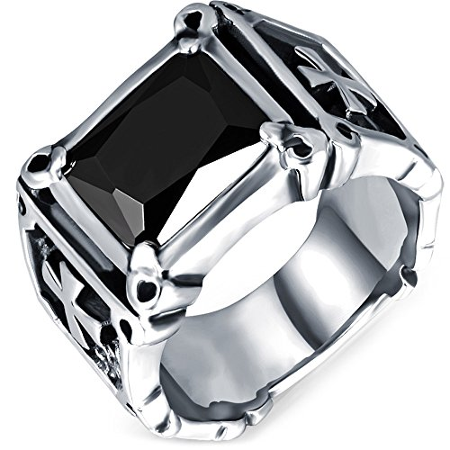 Men's Vintage Large Crystal Stainless Steel Dragon Claw Cross Ring Band Gothic Biker Knight Silver Black Size 8 (Stainless Steel Mens Rings Size 8 compare prices)