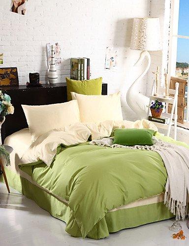 WAKXZH ® bicolore copertura federe lenzuolo piumino (canarino + verde)