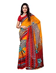 Indian Wear Yellow & Red Heavy Dani Georgette Printed Saree