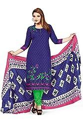 RK Fashion Womens Cotton Un-Stitched Salwar Suit Dupatta Material ( VARIETY-GANPATI-SUPRIYA-200-Blue-Free Size)
