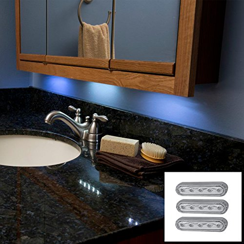 Led Under Cabinet Push Tap Touch Stick On Night Light Lamps For Home Set Of 3,6 & 10 White & Silver (Silver, 3)