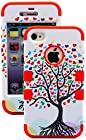 myLife Red - Tree Of Love Series (3 Piece Protective) Hard and Soft Case for the iPhone 4/4S (4G) 4th Generation Touch Phone (Fitted Front and Back Solid Cover Case + Internal Silicone Gel Rubberized Tough Armor Skin)