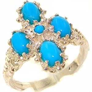 Luxury 9ct White Gold Turquoise Cluster Ring - Size K - Finger Sizes J to Z Available