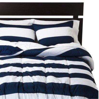 Rugby Stripe White Dark Blue Navy Twin Comforter And Sham Bedding Set
