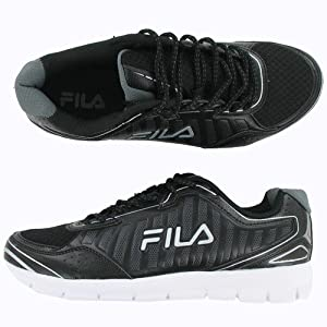 FILA WINSPRINTER BLACK/BLACK/METALLIC SILVER MENS RUNNING Size 9.5M