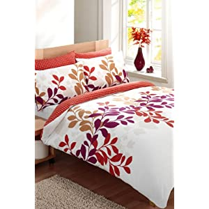 King Bedding Sets Orange on King Size Duvet Cover Bed Set Burnt Orange   Claret  Amazon Co Uk