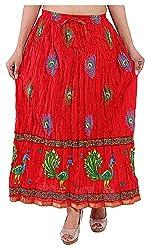 Magnus Women's Long Skirt (SKT477, Red, L)